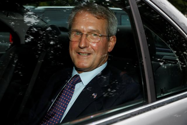 FILE PHOTO: Owen Paterson leaves Winfield House during U.S. President Donald Trump's state visit in London, Britain, June 4, 2019. REUTERS/Peter Nicholls