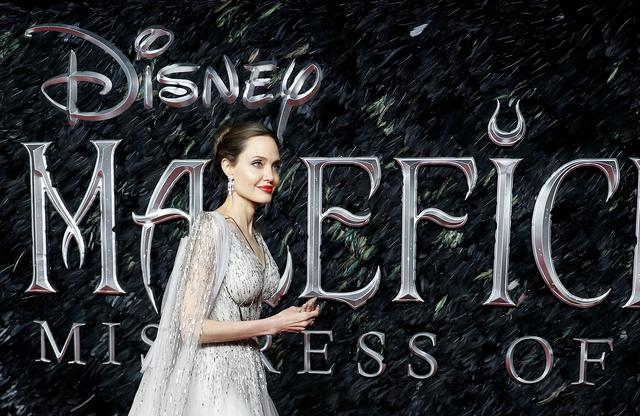 "FILE PHOTO: Actor Angelina Jolie looks on as she attends the UK premiere of ""Maleficent: Mistress of Evil"" in London, Britain October 9, 2019. REUTERS/Peter Nicholls"
