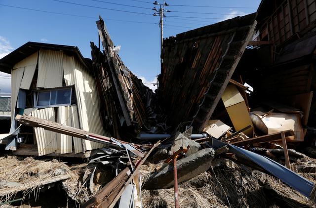 Destroyed houses are seen, in the aftermath of Typhoon Hagibis, in Koriyama, Fukushima prefecture, Japan October 15, 2019. REUTERS/Soe Zeya Tun
