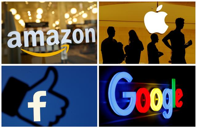 FILE PHOTO: The logos of Amazon, Apple, Facebook and Google are seen in a combination photo from Reuters files. REUTERS//File Photo