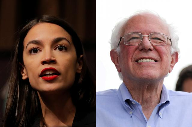 A combination photo of U.S. Rep. Alexandria Ocasio-Cortez (L) and 2020 Democratic U.S. presidential candidate and U.S. Senator Bernie Sanders. REUTERS/Lucas Jackson/Scott Morgan