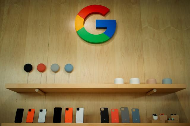 The new Google Pixel 4 smartphone and accessories are displayed during a Google launch event in New York City, New York, U.S., October 15, 2019. REUTERS/Eduardo Munoz