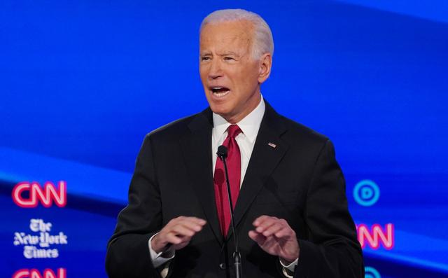 Democratic presidential candidate and former Vice President Joe Biden speaks during the fourth U.S. Democratic presidential candidates 2020 election debate at Otterbein University in Westerville, Ohio U.S., October 15, 2019. REUTERS/Shannon Stapleton
