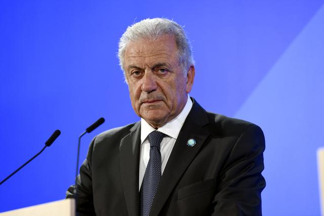 FILE PHOTO: European Commissioner for Migration and Home Affairs Dimitris Avramopoulos attends a news conference in Helsinki, Finland, July 18, 2019.   Lehtikuva/Emmi Korhonen via REUTERS