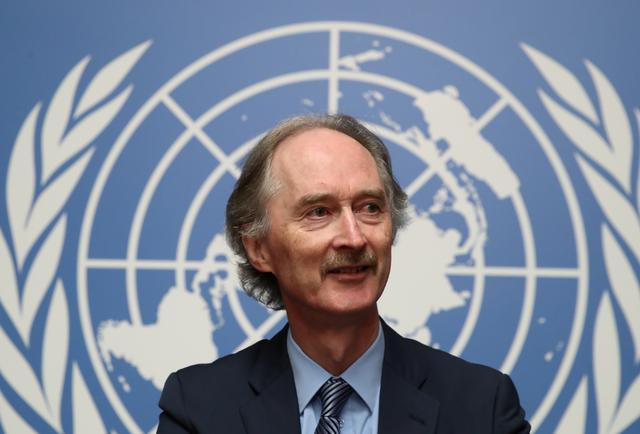 FILE PHOTO: U.N. Special Envoy Geir Pedersen attends a news conference at the United Nations in Geneva, Switzerland October 2, 2019. REUTERS/Denis Balibouse