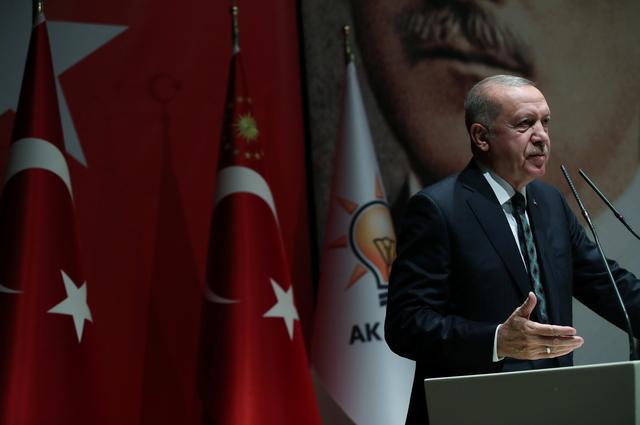 FILE PHOTO: Turkish President Tayyip Erdogan speaks during a meeting of his ruling AK Party in Ankara, Turkey, October 10, 2019. Murat Kula/Presidential Press Office/Handout via REUTERS