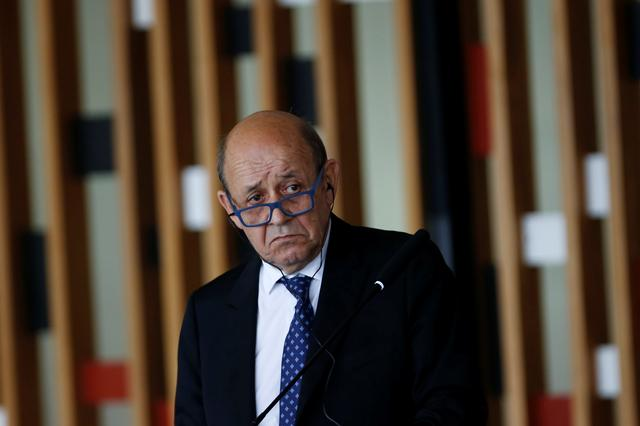 FILE PHOTO: French Foreign Minister Jean-Yves Le Drian speaks during a news conference at the Itamaraty Palace in Brasilia, Brazil July 29,2019. REUTERS/Adriano Machado