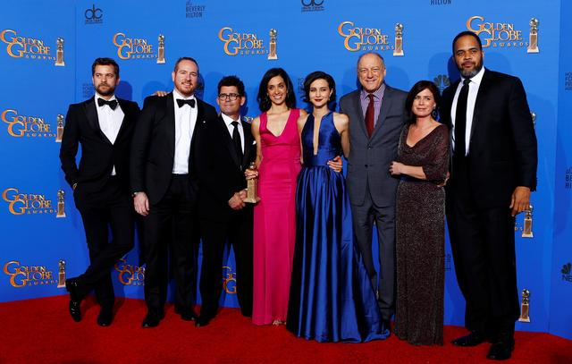 "FILE PHOTO: The cast of Showtime's ""The Affair"" poses backstage with their award for Best Television Series - Drama during the 72nd Golden Globe Awards in Beverly Hills, California January 11, 2015.  REUTERS/Mike Blake/File Photo"