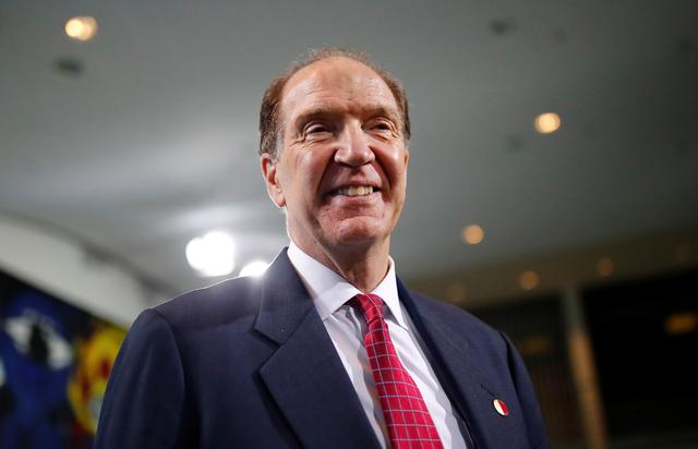 World Bank Group President David Malpass attends a news conference after a meeting at the Chancellery in Berlin, Germany October 1, 2019. REUTERS/Hannibal Hanschke