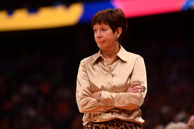 FILE PHOTO: Notre Dame Fighting Irish head coach Muffet McGraw reacts on the sidelines against the UConn Huskies during the second half in the semifinals of the women's Final Four of the 2019 NCAA Tournament at Amalie Arena in Tampa, Jasen Vinlove-USA TODAY Sports/File Photo