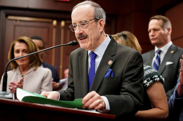 FILE PHOTO: U.S. Representative Eliot Engel (D-NY) speaks during the introduction of the Climate Action Now Act on Capitol Hill in Washington, D.C., U.S., March 27, 2019. REUTERS/Joshua Roberts