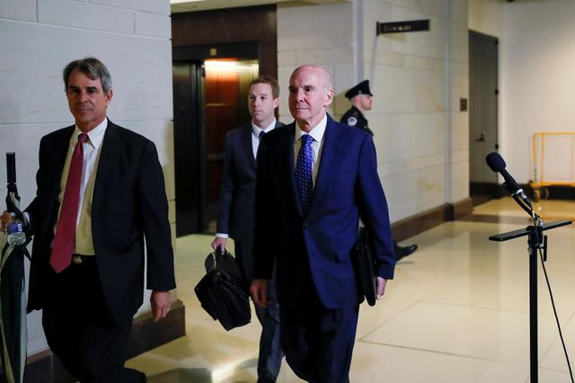 Michael McKinley, former senior adviser to U.S. Secretary of State Mike Pompeo, arrives to testify at a closed-door deposition as part of the impeachment inquiry into U.S. President Trump led by the House Intelligence, House Foreign Affairs and House Oversight and Reform Committees on Capitol Hill in Washington, U.S., October 16, 2019. REUTERS/Carlos Jasso
