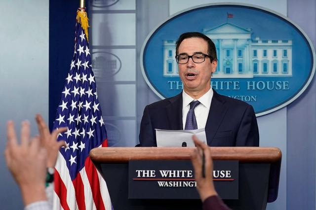 U.S. Treasury Secretary Steve Mnuchin speaks about sanctions against Turkey at a news briefing at the White House in Washington, U.S., October 11, 2019. REUTERS/Yuri Gripas