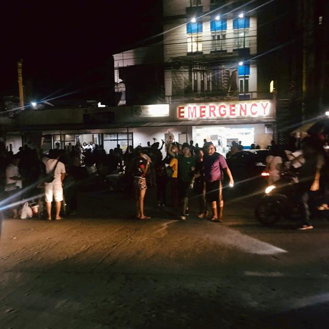 People are seen receiving assistance outside Kidapawan Doctors Hospital in Kidapawan City, after an earthquake, in Kidapawan City, Philippines October 16, 2019 in this picture obtained from social media. Sraprap Rafael/via REUTERS