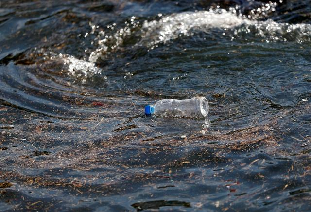 FILE PHOTO: A plastic bottle drifts on the waves of the sea at a fishing port in Isumi, east of Tokyo, Japan November 21, 2018. REUTERS/Issei Kato/File Photo