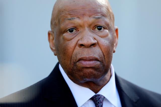 FILE PHOTO: U.S. Representative Elijah Cummings (D-MD) speaks with reporters after meeting with President Donald Trump about prescription drug prices at the White House in Washington, U.S., March 8, 2017. REUTERS/Jonathan Ernst/File Photo
