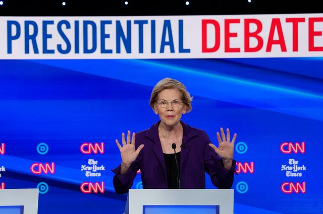 FILE PHOTO: Democratic presidential candidate Senator Elizabeth Warren speaks during the fourth U.S. Democratic presidential candidates 2020 election debate at Otterbein University in Westerville, Ohio U.S., October 15, 2019. REUTERS/Shannon Stapleton/File Photo