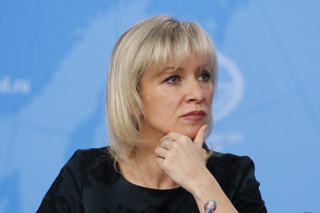 FILE PHOTO: Russia's Foreign Ministry spokeswoman Maria Zakharova listens during the annual news conference of the Russia's Foreign Minister Sergei Lavrov (not pictured) in Moscow, Russia January 16, 2019. REUTERS/Maxim Shemetov