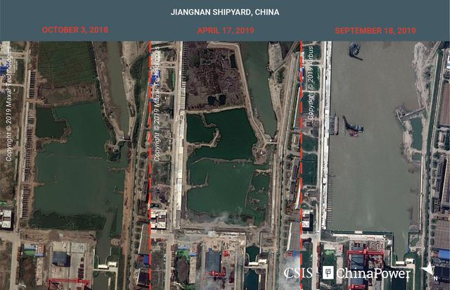 FILE PHOTO: A combination image of satellite photos shows Jiangnan Shipyard in Shanghai, China on October 3, 2018, April 17, 2019 and September 18, 2019. Mandatory credit CSIS/ChinaPower/Maxar Technologies and Airbus 2019/Handout via REUTERS