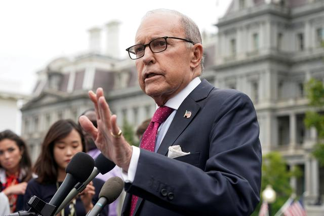 FILE PHOTO: Director of the National Economic Council Larry Kudlow speaks to the media at the White House in Washington, U.S., Sept 6, 2019.      REUTERS/Joshua Roberts/File Photo