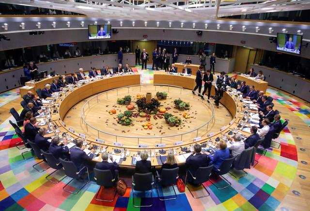 European Union leaders attend a round table meeting at the European Union leaders summit, in Brussels, Belgium October 17, 2019. Olivier Matthys/Pool via REUTERS
