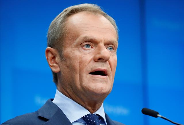 European Council President Donald Tusk speaks during a joint news conference with European Commission President Jean-Claude Juncker, European Union's chief Brexit negotiator Michel Barnier and Ireland's Prime Minister (Taoiseach) Leo Varadkar at the European Union leaders summit, in Brussels, Belgium October 17, 2019. REUTERS/Francois Lenoir