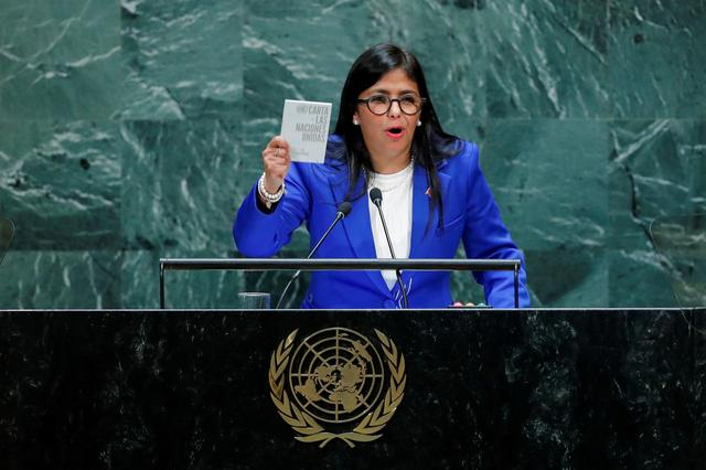 FILE PHOTO: Venezuela's Vice President Delcy Rodriguez shows the UN charter as she addresses the 74th session of the United Nations General Assembly at U.N. headquarters in New York City, New York, U.S., September 27, 2019. REUTERS/Eduardo Munoz/File Photo