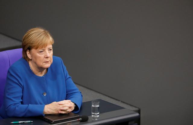 FILE PHOTO: German Chancellor Angela Merkel arrives to speak to members of Germany's lower house of parliament Bundestag in Berlin, Germany October 17, 2019 REUTERS/Michele Tantussi