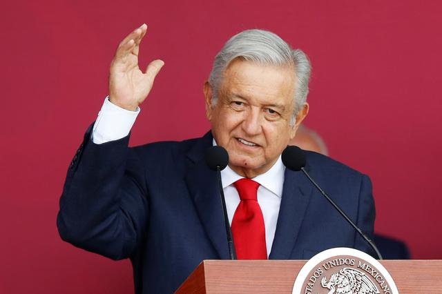Mexico's President Andres Manuel Lopez Obrador speaks during an official event to mark the beginning of the construction of a new international airport, at the Santa Lucia military airbase in Zumpango, on the outskirts of Mexico City, Mexico October 17, 2019. REUTERS/Gustavo Graf