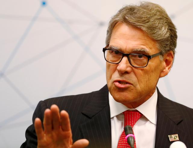 FILE PHOTO: U.S. Secretary of Energy Rick Perry speaks during a news conference after the Partnership for Transatlantic Energy Cooperation conference in Vilnius, Lithuania October 7, 2019. REUTERS/Ints Kalnins