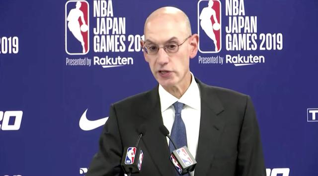 FILE PHOTO: Adam Silver, Commissioner of the NBA, gives a statement during a news conference in Tokyo, Japan October 8, 2019 in this still image taken from a video. Reuters TV via REUTERS