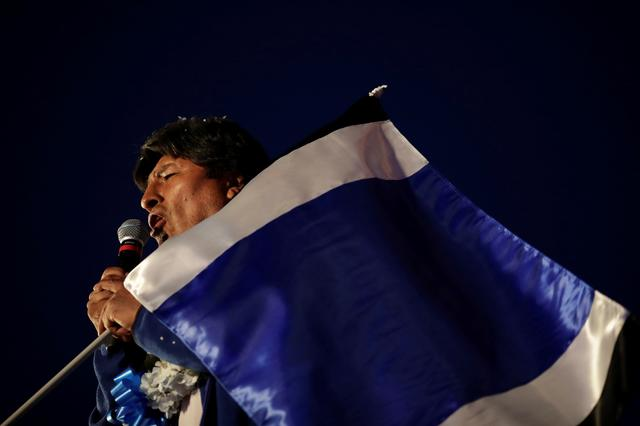 Bolivia's President and current presidential candidate for the Movement for Socialism (MAS) party Evo Morales speaks during a closing campaign rally in El Alto, Bolivia October 16, 2019. REUTERS/Ueslei Marcelino
