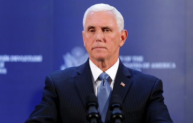 U.S. Vice President Mike Pence attends a news conference at the U.S. Embassy in Ankara, Turkey, October 17, 2019. REUTERS/Huseyin Aldemir