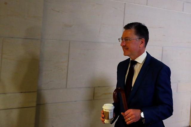 Kurt Volker, U.S. President Donald Trump's former envoy to Ukraine, arrives to participate in a closed-door deposition as part of the Democratic-led U.S. House of Representatives impeachment inquiry into U.S. President Donald Trump on Capitol Hill in Washington, U.S., October 16, 2019. REUTERS/Carlos Jasso