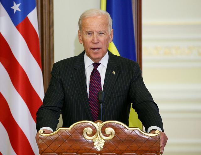 FILE PHOTO: U.S. Vice President Joe Biden speaks during a news conference after a meeting with Ukrainian President Petro Poroshenko in Kiev, Ukraine, January 16, 2017. REUTERS/Gleb Garanich - LR1ED1G0Q8AZH/File Photo