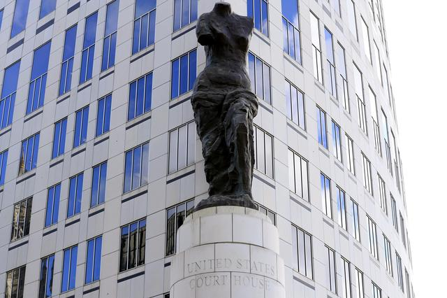 A view of the statue standing in front of the U.S. District Courthouse in Cleveland, Ohio, U.S., October 18, 2019.  REUTERS/Aaron Josefczyk