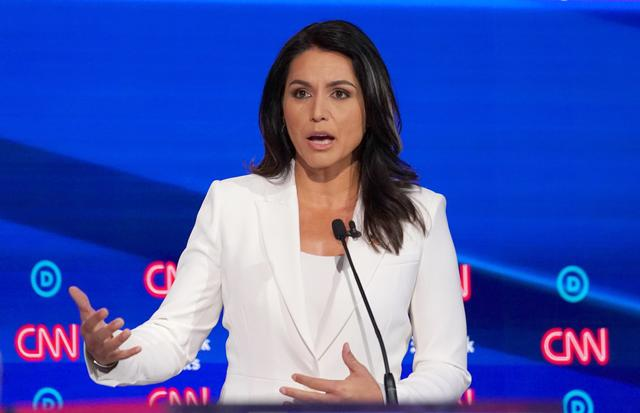 FILE PHOTO: Democratic presidential candidate Rep. Tulsi Gabbard speaks during the fourth U.S. Democratic presidential candidates 2020 election debate in Westerville, Ohio, U.S., October 15, 2019. REUTERS/Shannon Stapleton