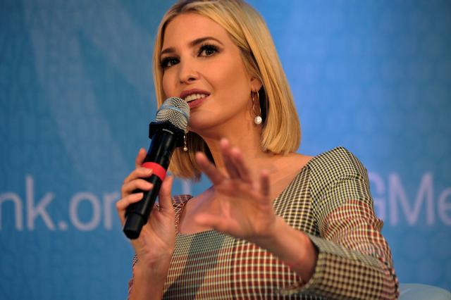 Ivanka Trump, daughter and advisor to U.S. president Donald Trump, speaks on a panel at the annual meetings of the International Monetary Fund and World Bank in Washington, U.S., October 18, 2019. REUTERS/James Lawler Duggan
