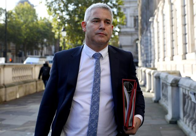 FILE PHOTO: Britain's Brexit Secretary Stephen Barclay is seen outside the Cabinet Office in London, Britain October 18, 2019.  REUTERS/Tom Nicholson