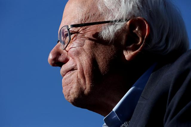 "Democratic 2020 U.S. presidential candidate and U.S. Senator Bernie Sanders (I-VT) arrives to a ""Bernie's Back"" rally at Queensbridge Park in the Queens Borough of New York City, U.S., October 19, 2019.  REUTERS/Yana Paskova"