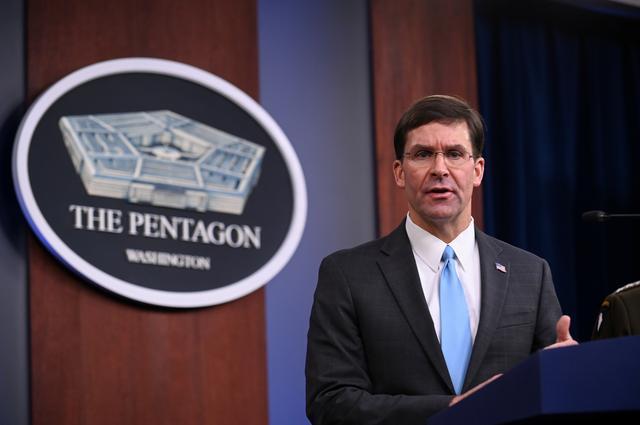 FILE PHOTO: U.S. Defense Secretary Mark Esper addresses reporters during a media briefing at the Pentagon in Arlington, Virginia, U.S., October 11, 2019. REUTERS/Erin Scott