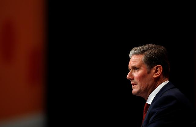 Labour's Shadow Secretary for Brexit Keir Starmer speaks during the Labour party annual conference in Brighton, Britain September 23, 2019.  REUTERS/Peter Nicholls