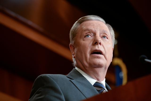 FILE PHOTO: Sen. Lindsey Graham (R-SC) announces a bipartisan agreement on Turkey sanctions during a news conference on Capitol Hill in Washington, U.S., October 17, 2019. REUTERS/Erin Scott