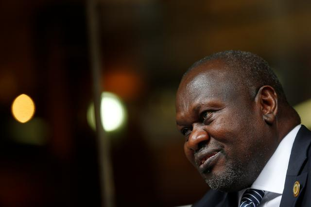 FILE PHOTO: South Sudan's ex-vice president and former rebel leader Riek Machar is pictured during an interview with Reuters in Rome, Italy, April 12, 2019. REUTERS/Yara Nardi.