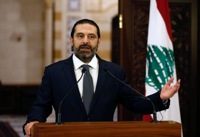 FILE PHOTO: Lebanon's Prime Minister Saad al-Hariri speaks during a news conference in Beirut, Lebanon October 18, 2019. REUTERS/Mohamed Azakir