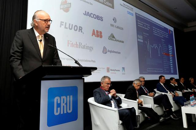 FILE PHOTO: Chilean Mining Minister Baldo Prokurica, speaks during the CRU's World Copper Conference in Santiago, Chile  April 9, 2019. REUTERS/Rodrigo Garrido/File Photo