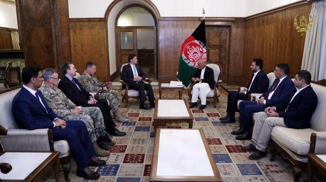 Afghanistan's President Ashraf Ghani meets with U.S. Defense Secretary Mark Esper in Kabul, Afghanistan, October 20, 2019. Pictures taken October 20, 2019. Afghan Presidential Palace/Handout via REUTERS