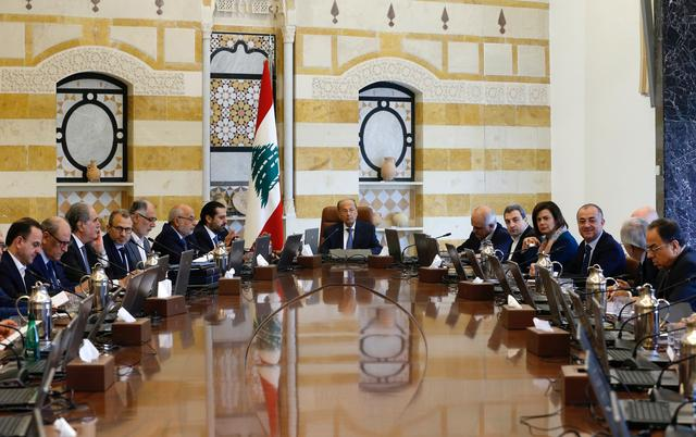 Lebanon's President Michel Aoun presides a cabinet session at the Baabda palace, Lebanon October 21, 2019. REUTERS/Mohamed Azakir