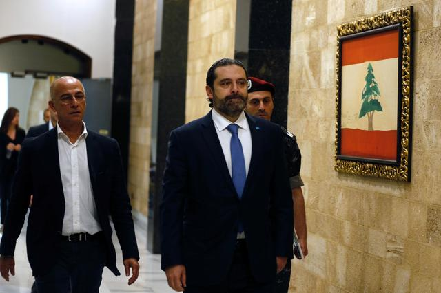 Lebanon's Prime Minister Saad al-Hariri arrives to attend a cabinet session at the Baabda palace, Lebanon October 21, 2019. REUTERS/Mohamed Azakir
