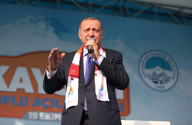Turkish President Tayyip Erdogan speaks during a gathering in Kayseri, Turkey, October 19, 2019. Mustafa Kamaci/Presidential Press Office/Handout via REUTERS